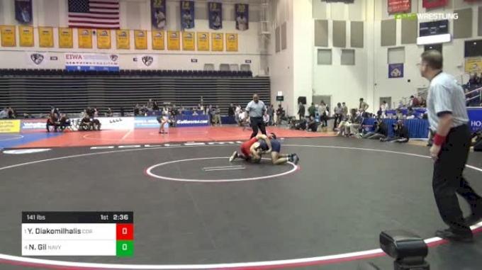 141 lbs Semifinal - Yianni Diakomilhalis, Cornell vs Nicholas Gil, Navy