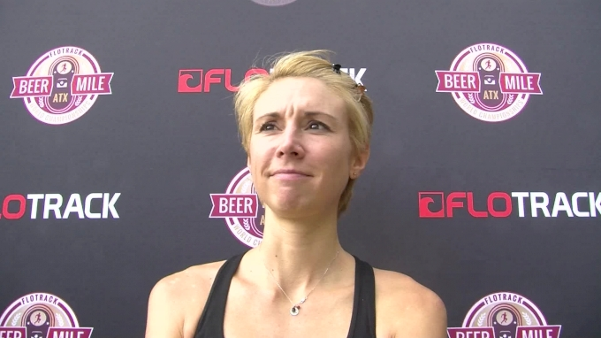 Caitlin Batten after winning the beer mile world championships
