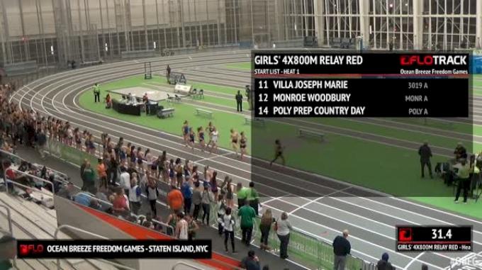 Girl's 4x800m Relay Red, Round 1 Heat 1