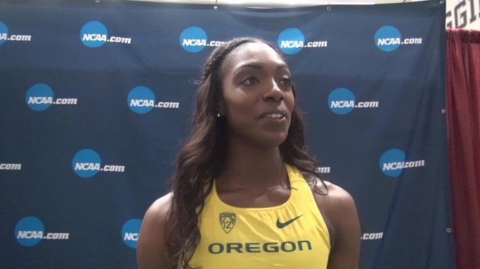 Sasha Wallace after winning first 60m hurdle title