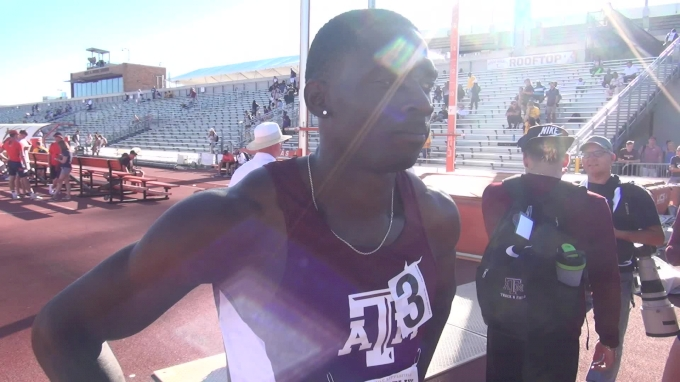 A&M's Lindon Victor after breaking Trey Hardee's NCAA decathlon record