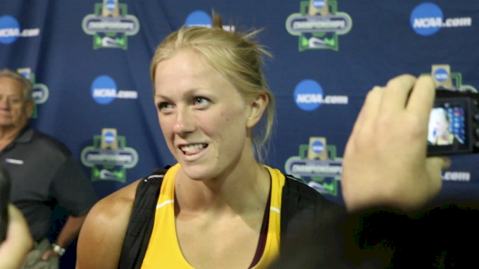Maggie Ewen after breaking the collegiate record in the hammer