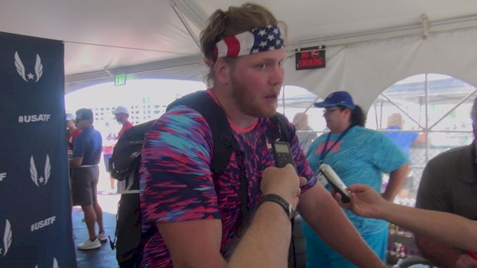 Ryan Crouser after throwing the seventh best shot put in the world all-time