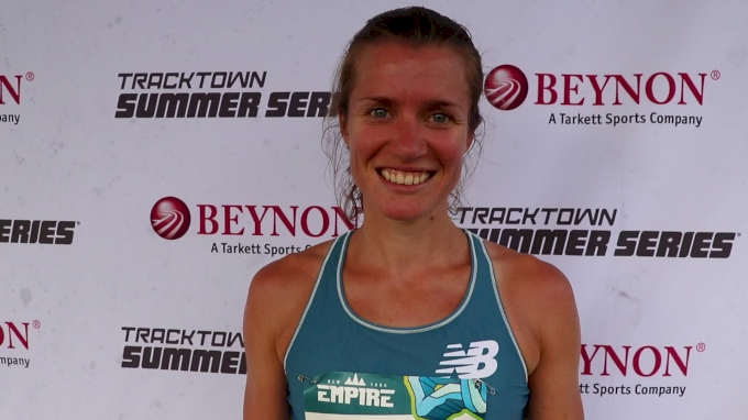 Kim Conley after winning TrackTown Summer Series road 5K