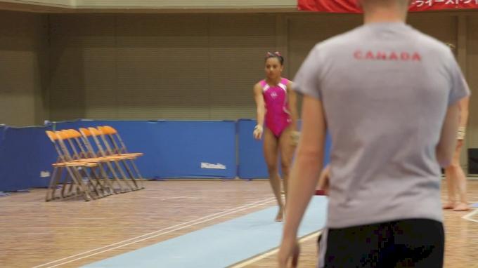 Emma Malabuyo's Double Twisting Yurchenkos - Training Day 1, 2017 International Junior Japan