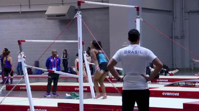 Rebeca Andrade (BRA) Training Half Routines On Bars - Training Day 1, 2017 World Championships