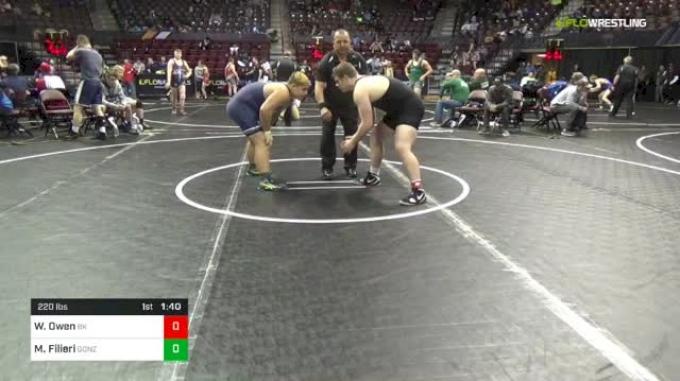 220 lbs Round Of 32 - Wyatt Owen, Bad Karma vs Michael Filieri, Gonzo Trainer Of Champions