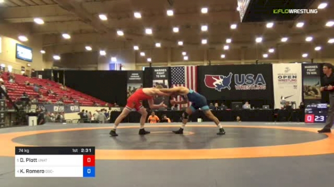 74 kg Quarters - Dustin Plott, Unattached vs Kaleb Romero, OSC-Unattached