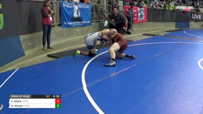 135 lbs Consi of 16 #2 - Cayleb Atkins, Kansas Young Guns vs Michael Murphy, Pinnacle Wrestling Club