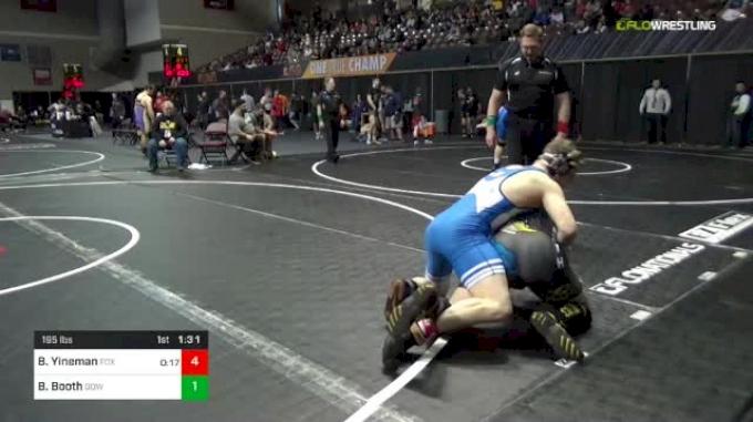 195 lbs Quarterfinal - Beau Yineman, Fox Valley Elite vs Brent Booth, Dow Midland
