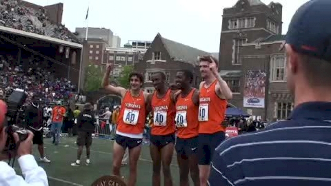 Virginia on the awards stand after 4x800 victory at 2010 Penn Relays