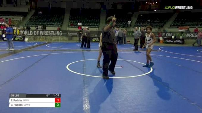 76 lbs 2nd place - Tahir Parkins, Dark Knights vs Cael Hughes, Cowboy Wrestling Club