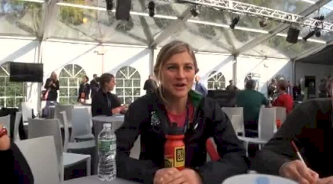 Lauren Fleshman talks about current knee injury and finishing before marathon debut at NYC Marathon 2011