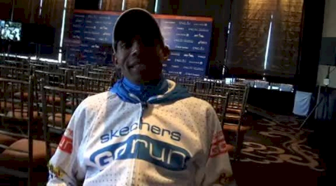 Meb Keflezighi after setting marathon PR 2:09:13 in 6th place at New York City Marathon 2011
