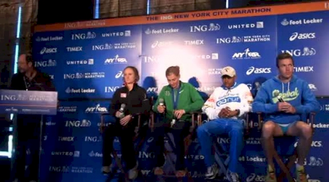 Meb Keflezighi talks about his race after ING New York City Marathon 2011