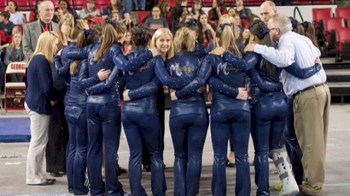 Michigan in a team huddle