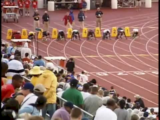 B 100 (4a, Cameron Burrell 10.57 at UIL 2012)