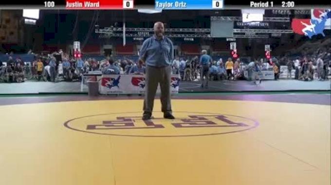 100 lbs round-1 Justin Ward Oklahoma vs. Taylor Ortz Pennsylvania