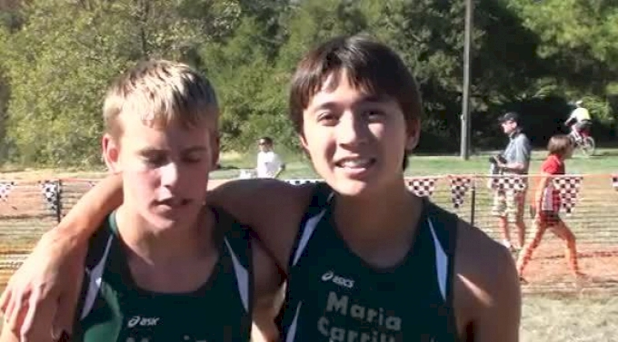 Maria Carrillo's Spencer Jones(1st) and Michael King(2nd) after boy's JV race at 2012 Ed Sias XC Invitational