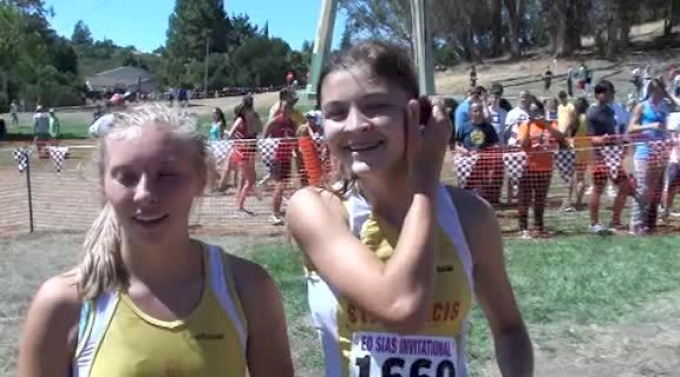 St. Francis' {@Allison Klas](1st) and Macee Moreno(2nd) after Girl's JV race at 2012 Ed Sias XC Invite