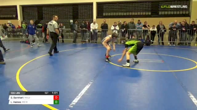 100 lbs Rr rnd 5 - Spencer Barnhart, Malvern Silver MS vs Levi Haines, M2 Ms
