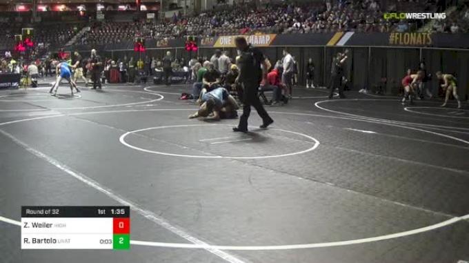 132 lbs Round Of 32 - Zach Weiler, Higher Level Wrestling vs Rocco Bartolo, Unattached
