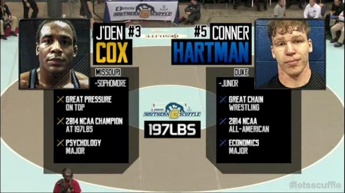 197lbs Finals Jden Cox (Missouri) vs. Conner Hartmann (Duke)