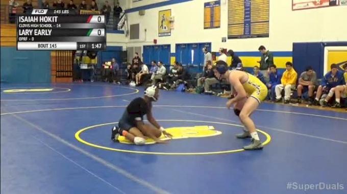 145lbs Match Isaiah Hokit (Clovis High School) vs. Larry Early (Oprf)