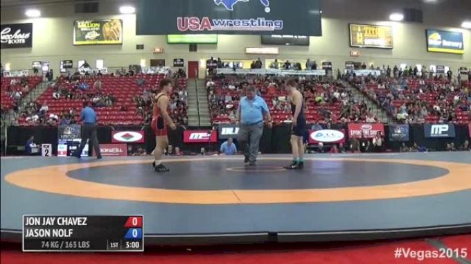 74kg Semi-finals Jon Jay Chavez (Titian Mercery Wrestling Club) vs. Jason Nolf (Nittany Lion Wrestling Club)