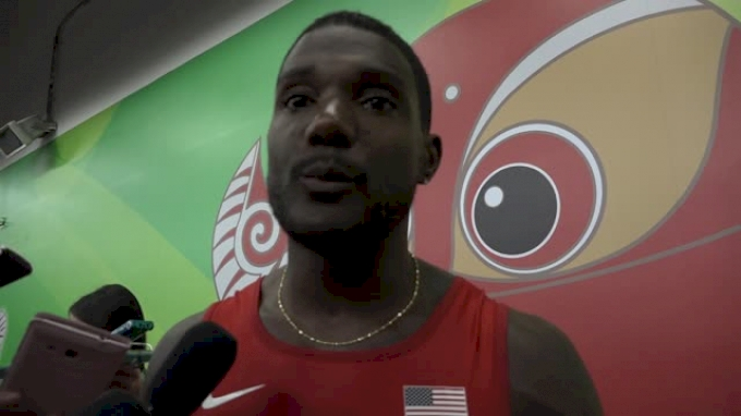 Justin Gatlin after getting edged out by Usain Bolt in 100m final