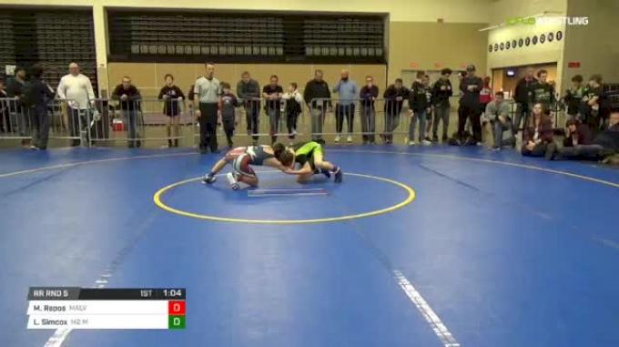 92 lbs Rr rnd 5 - Matthew Repos, Malvern Silver MS vs Luke Simcox, M2 Ms