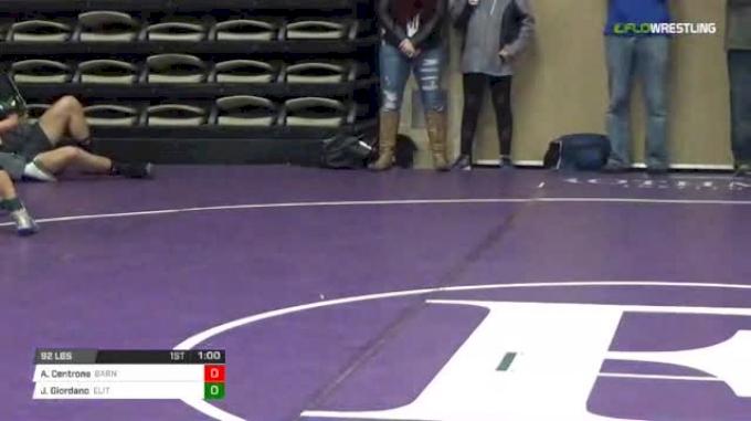92 lbs Rr rnd 5 - Angelo Centrone, Barn Beasts Ms vs Joe Giordano, Elite NJ Black MS