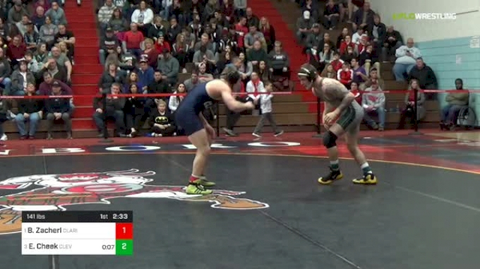 141 lbs Final - Brock Zacherl, Clarion University vs Evan Cheek, Cleveland State University