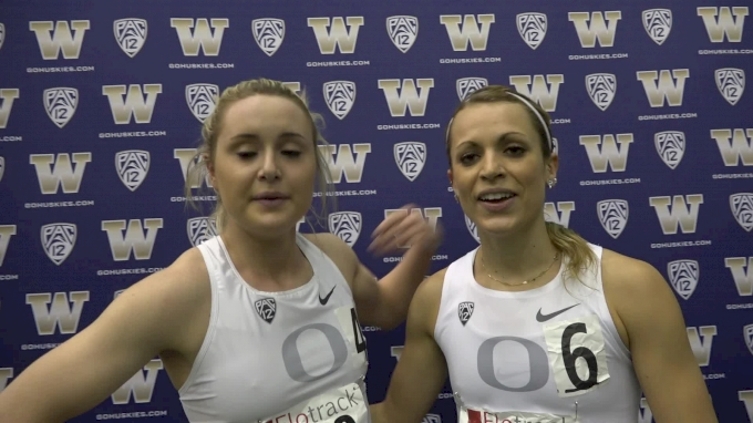 Annie LeBlanc, Brooke Feldmeier on the strength of Oregon women's middle distance
