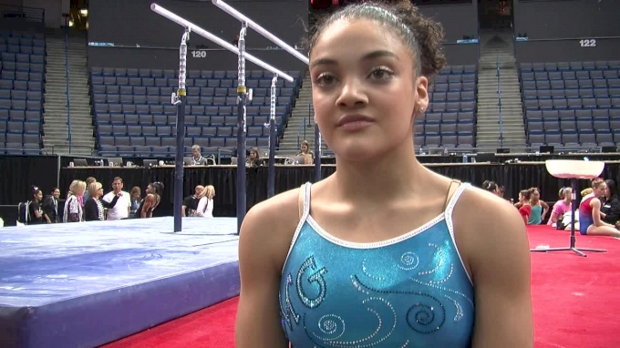 Laurie Hernandez on Knee Strain & Brand New Floor Routine - Training Day, Secret Classic 2016