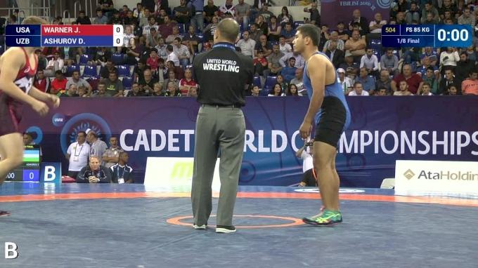 85 kg r2, Jacob Warner, USA vs Davletbek Ashurov, UZB