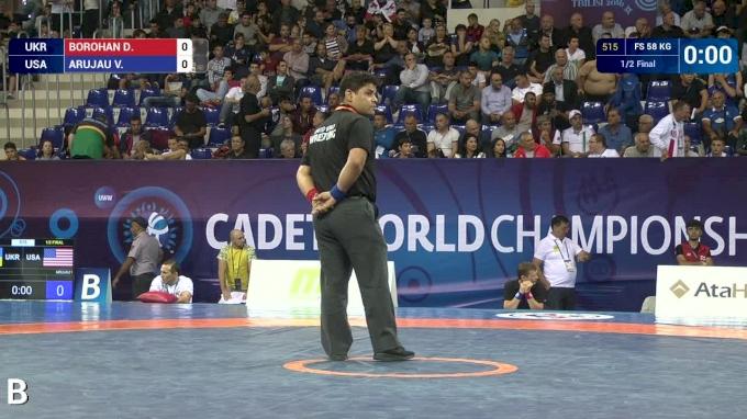 58 kg Semifinal - Vitali Arujau, USA vs Denys Borohan, UKR