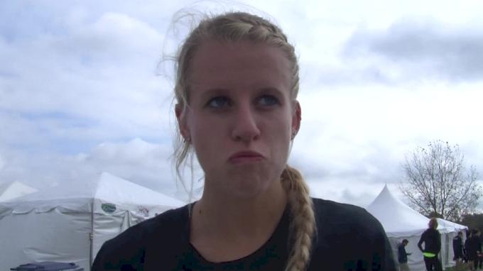 Karissa Schweizer of Missouri pumped after finishing fourth
