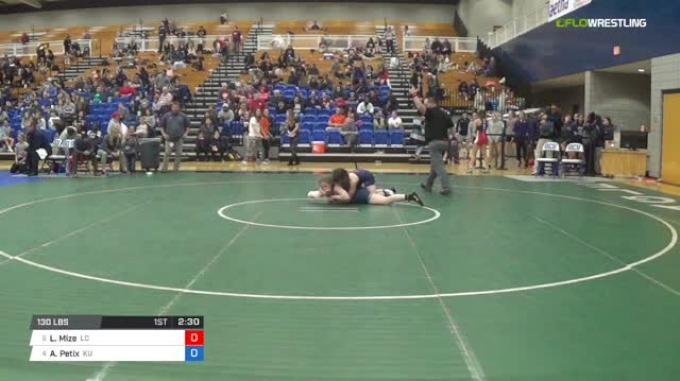 130 lbs Consi of 8 #2 - Logan Mize, Lyon College vs Allison Petix, King University W