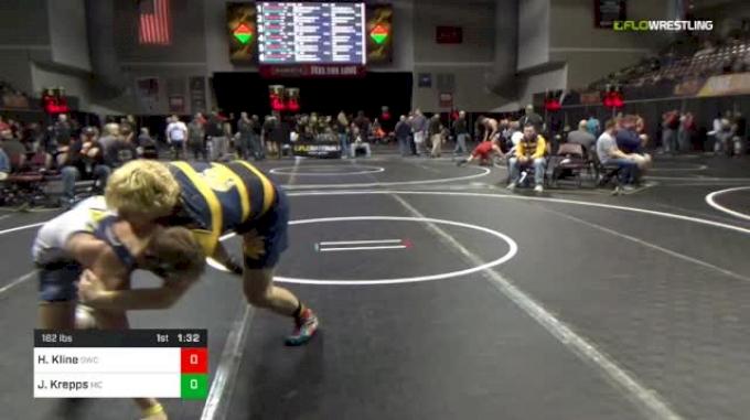 182 lbs Round Of 32 - Honour Kline, Goodrich Wrestling vs Jacob Krepps, Mifflin County