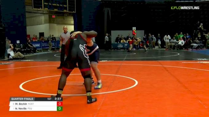 285 lbs Quarterfinal - Mike Boykin, NC State vs Nick Nevills, Penn State