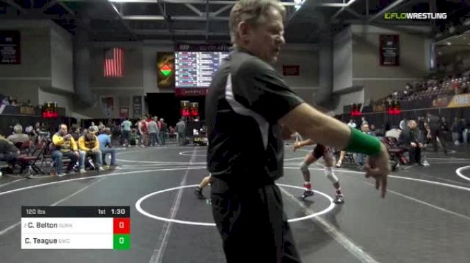 120 lbs Round Of 16 - Cleveland Belton, Sunkist Kids Monster Garage vs Caleb Teague, Goodrich Wrestling