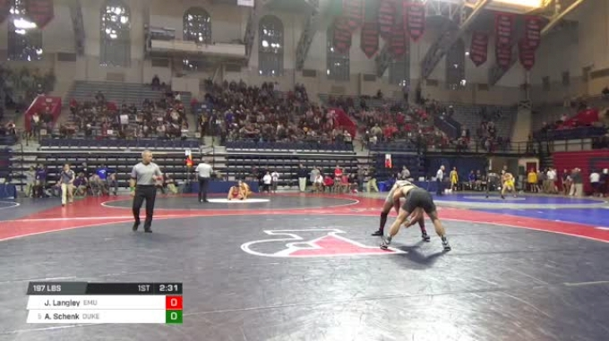 197 lbs Round of 32 - Jared Langley, Eastern Michigan vs Alec Schenk, Duke University