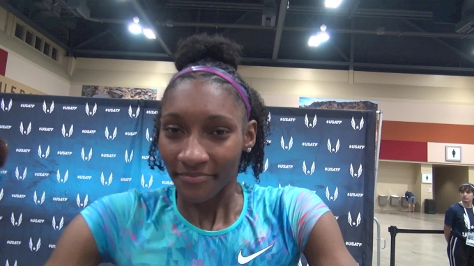 Quanera Hayes after a rough-and-tumble 400 prelim