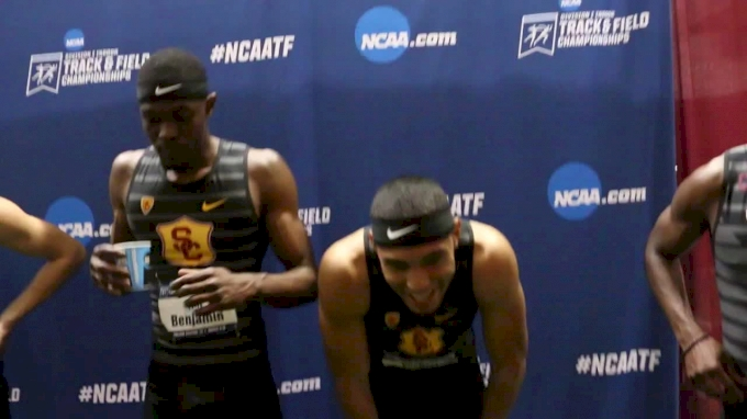USC Men, Mike Norman React To 4x4, 400m World Records