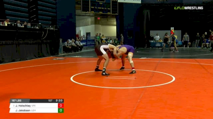 197 lbs Round of 16 - Jacob Holschlag, Northern Iowa vs Jake Jakobsen, Lehigh