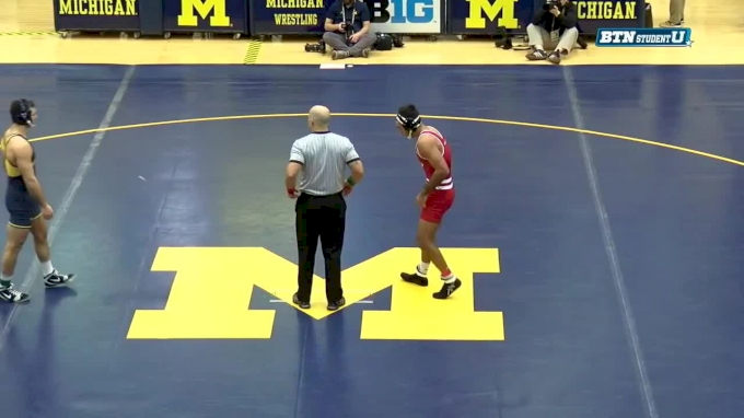 184 lbs, #9 Ricky Robertson, Wisconsin vs #5, Domenic Abounader, Michigan