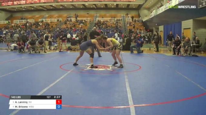 143 lbs Consi of 8 #2 - Addie Lanning, Ottawa University W vs Marina Briceno, Wayland Baptist University W