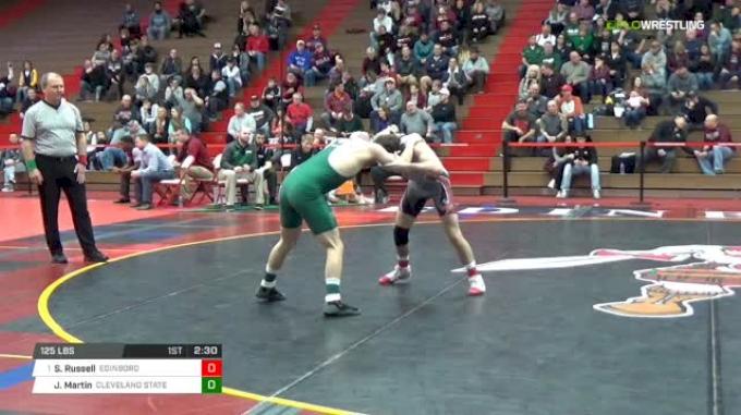 125 lbs Quarterfinal - Sean Russell, Edinboro University vs John Martin, Cleveland State University