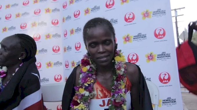 Brigid Kosgei after winning the Honolulu Marathon